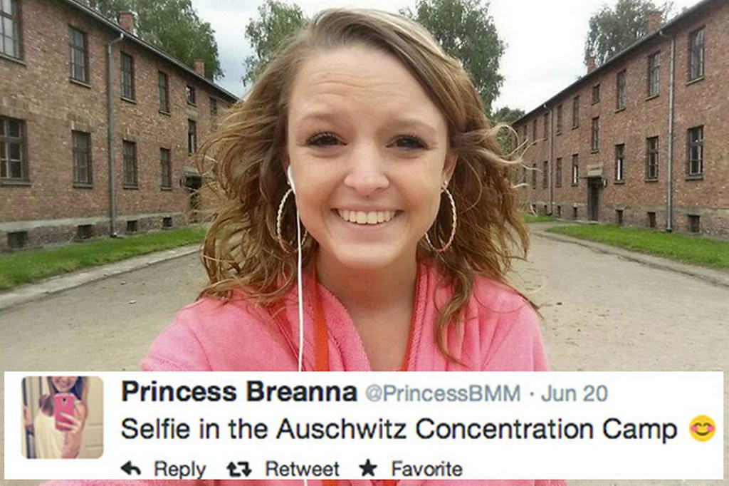 """. 10. (tie) SELFIES <p>The more tasteless your background selection, the quicker you get your 15 minutes of fame. (8) </p><p><b><a href=\""""http://abcnews.go.com/US/selfies-auschwitz-911-memorial/story?id=23349752\"""" target=\""""_blank\""""> LINK </a></b> </p><p>   (Twitter photo)</p>"""