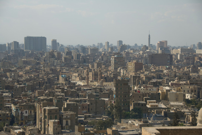 Overlooking view of the city skyline in Cairo, Egypt