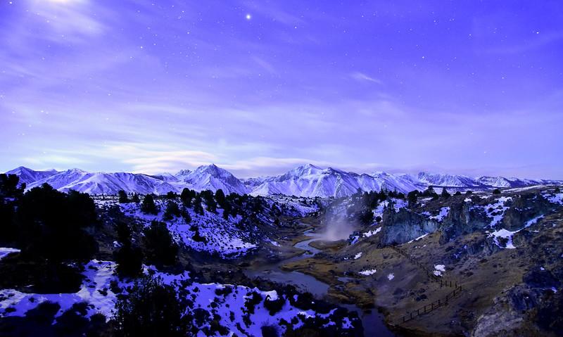Stars over Hot Creek & the High Sierra