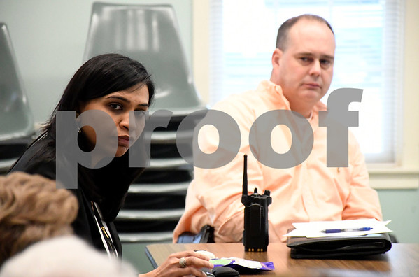 2/22/2018 Mike Orazzi | Staff Pharmacist Suruchi Patel of the Plainville Community Pharmacy during a discussion about the Opiod Epidemic held at the Plainville Senior Center Thursday morning.