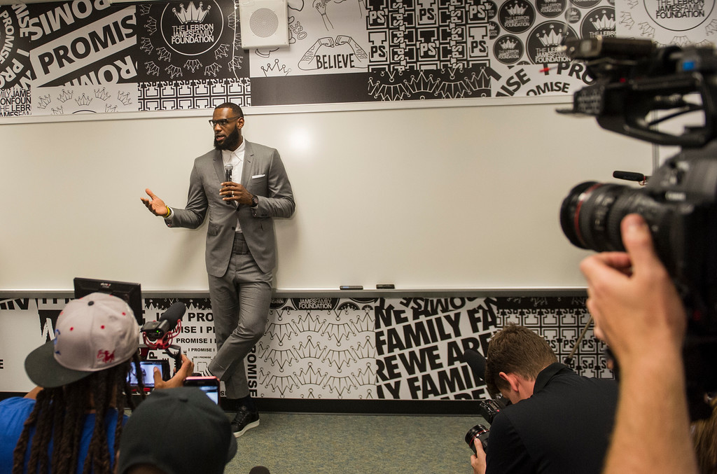 . LeBron James speaks at a news conference after the opening ceremony for the I Promise School in Akron, Ohio, Monday, July 30, 2018. The I Promise School is supported by the The LeBron James Family Foundation and is run by the Akron Public Schools. (AP Photo/Phil Long)