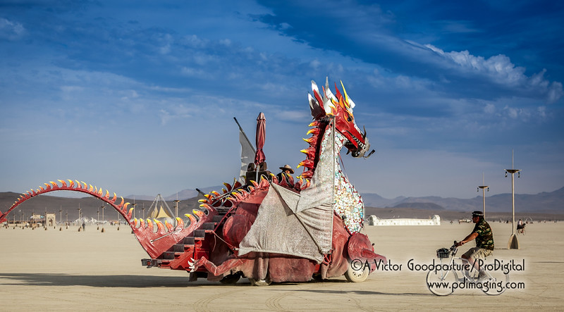 This is a fire-breathing dragon art car. Later in this gallery, you'll see it shooting flames at night. Wickedly awesome.