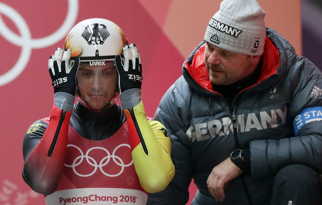. Johannes Ludwig of Germany prepares to start his third run during final heats of the men\'s luge competition at the 2018 Winter Olympics in Pyeongchang, South Korea, Sunday, Feb. 11, 2018. (AP Photo/Michael Sohn)