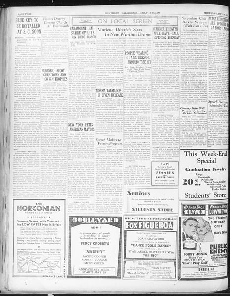Daily Trojan, Vol. 22, No. 143, May 14, 1931