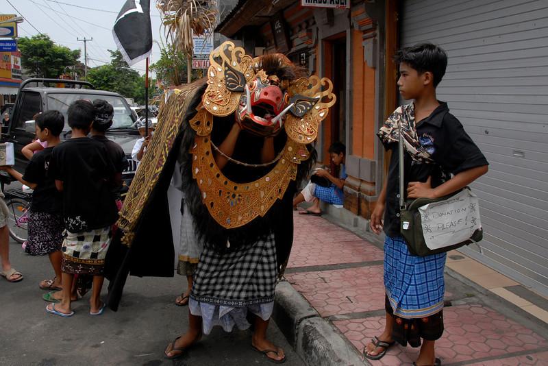 Childrens preparing for street dance in Bali, Indonesia