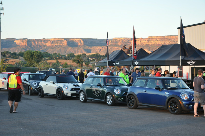 Outside Allen Unique Autos, before the rainstorm forced everybody inside for the rest of the evening. MINIs eventually filled the parking lot. Colorado National Monument in the background. Grand Junction.