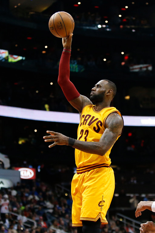 . Cleveland Cavaliers forward LeBron James (23) shoots against the Atlanta Hawks in the second half of an NBA basketball game, Friday, March 3, 2017, in Atlanta. The Cavaliers won 135-130. (AP Photo/Brett Davis)