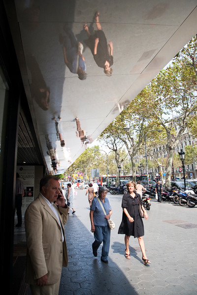 Reflections, Passeig de Gracia street, town of Barcelona, autonomous commnunity of Catalonia, northeastern Spain