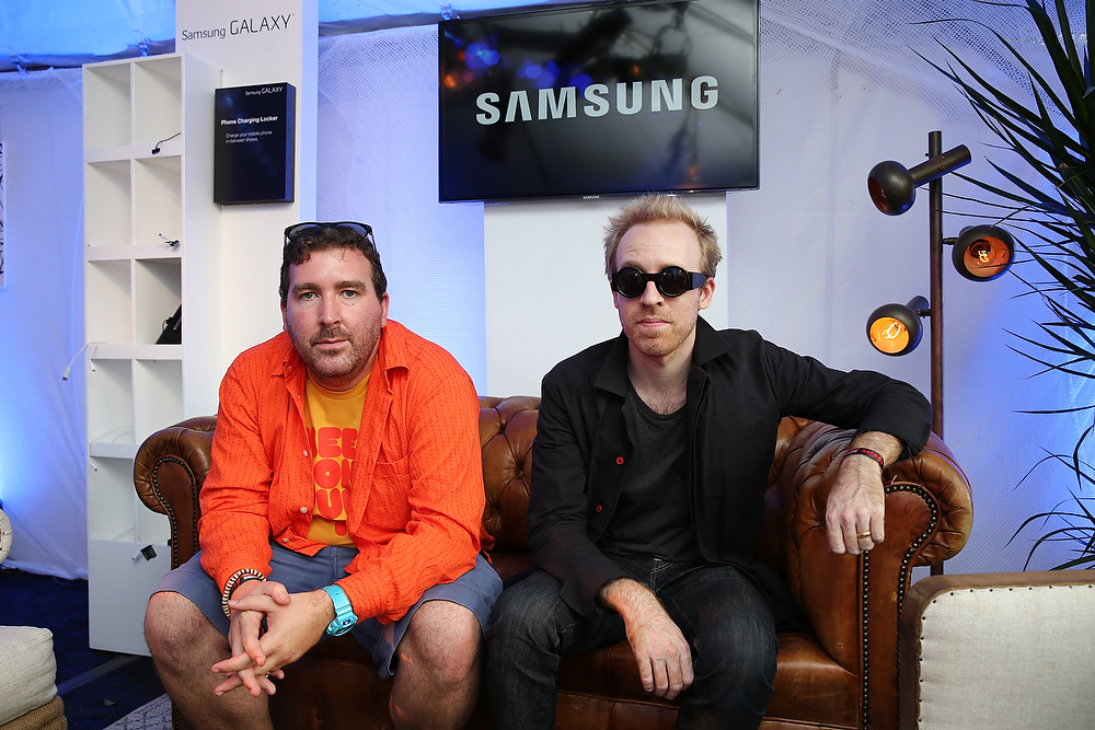 Description of . CHICAGO, IL - AUGUST 02:  Joe Goddard and Al Doyle of Hot Chip attend the Samsung Galaxy Artist Lounge at Lollapalooza  on August 2, 2013 in Chicago City.  (Photo by Neilson Barnard/Getty Images for Samsung Galaxy)
