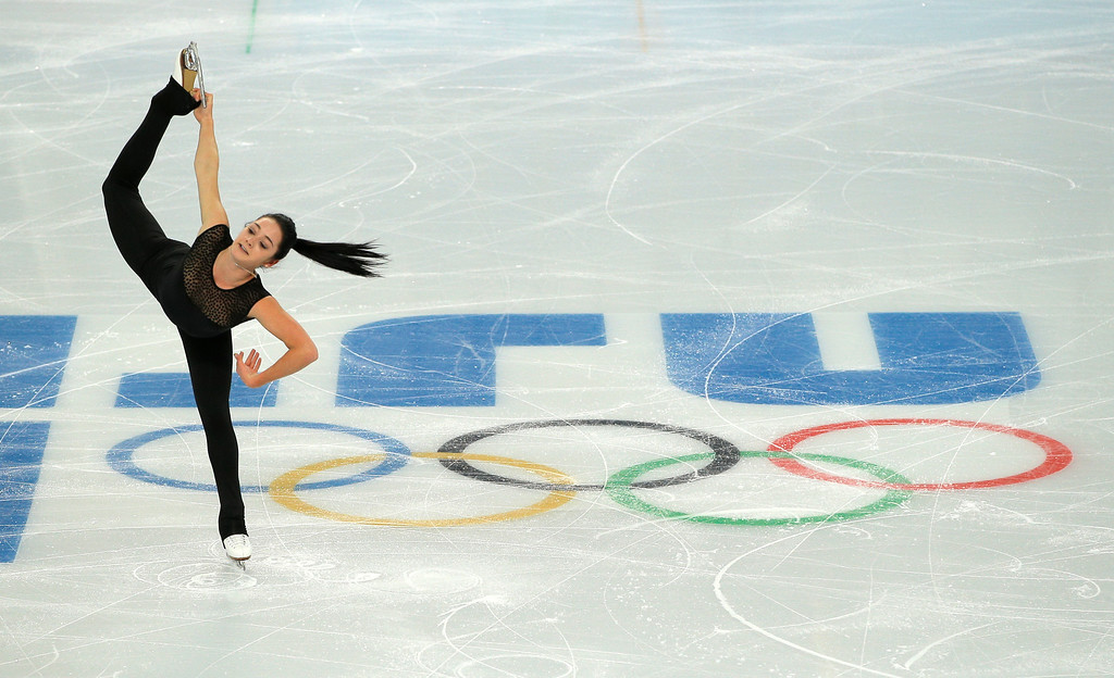 . Kaetlyn Osmond of Canada practices during a figure skating practice session at the Iceberg Skating Palace ahead of the 2014 Winter Olympics, Tuesday, Feb. 4, 2014, in Sochi, Russia. (AP Photo/Vadim Ghirda)