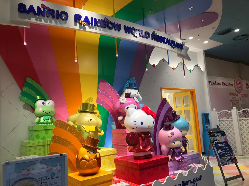 In front of the Sanrio World Restaurant.