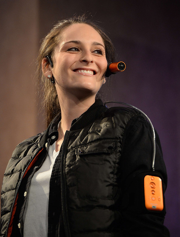 . A model wears a Panasonic HX-A100 wearable camera at a Panasonic Corporation press event at the Mandalay Bay Convention Center for the 2014 International CES on January 6, 2014 in Las Vegas, Nevada. (ROBYN BECK/AFP/Getty Images)
