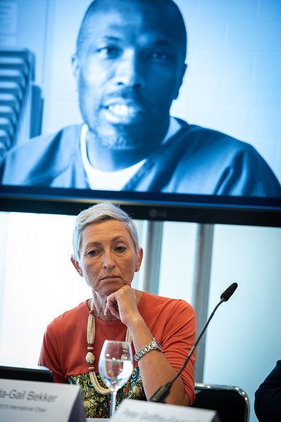 22nd International AIDS Conference (AIDS 2018) Amsterdam, Netherlands.   Copyright: Steve Forrest/Workers' Photos/ IAS  Photo shows: The Criminalization of HIV JIAS Press Conference.Linda-Gail Bekker (Chair).