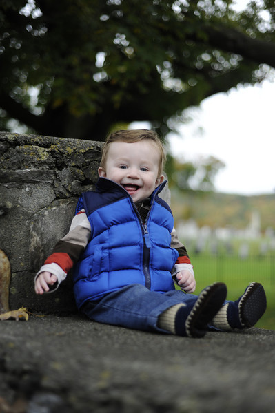 Jack enjoying a pleasant day with Center Shaftsbury Cemetery in background - he does take after his mother in some aspects.