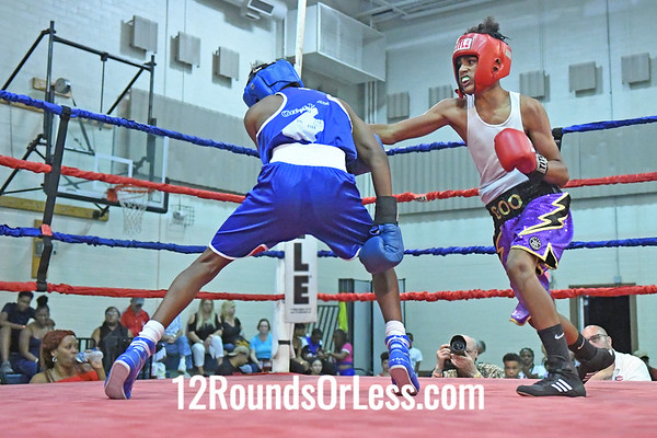 Bout #11: Jamal Bowman, Blue Gloves vs Travell Fain, Red Gloves, 2 min. rds.