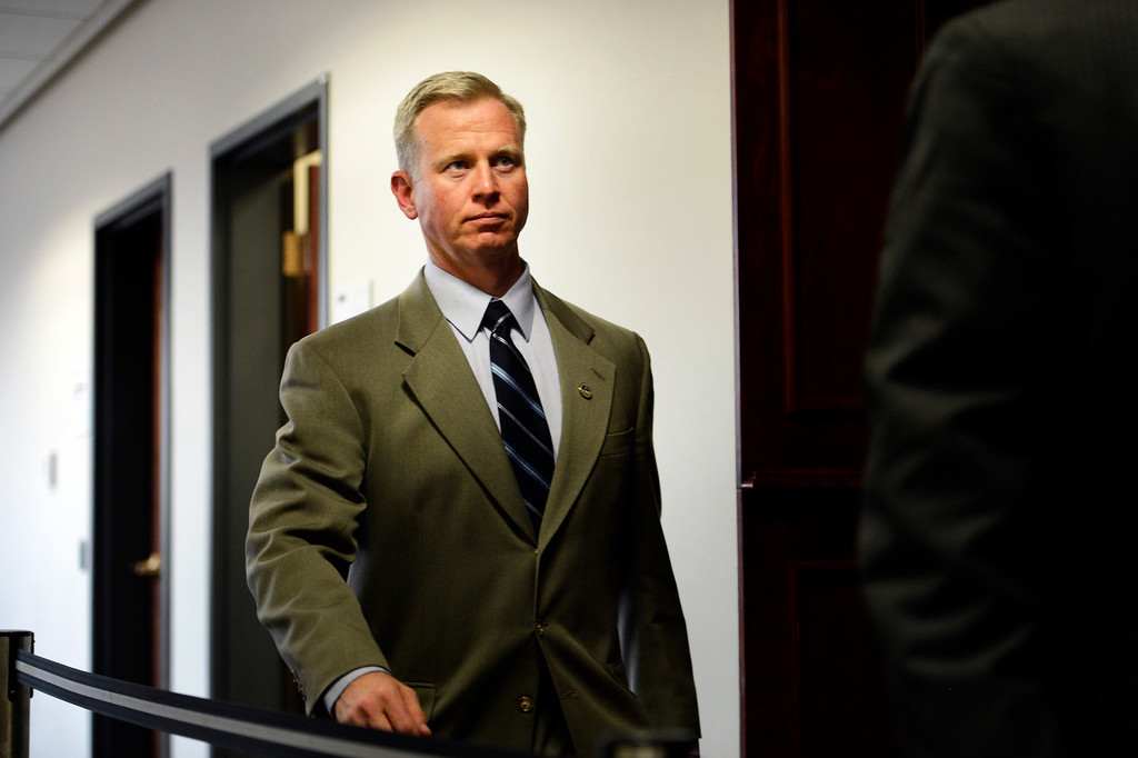 . CENTENNIAL, CO. - APRIL 10: District Attorney George Brauchler leaves the hearing for Fox News reporter Jana Winter for protecting her sources in a story connected to mass murderer James Holmes at the Arapahoe County Justice Center April 10, 2013 Centennial, Colorado. (Photo By Joe Amon/The Denver Post)