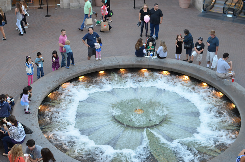 Waterworks from the second level near the theaters.