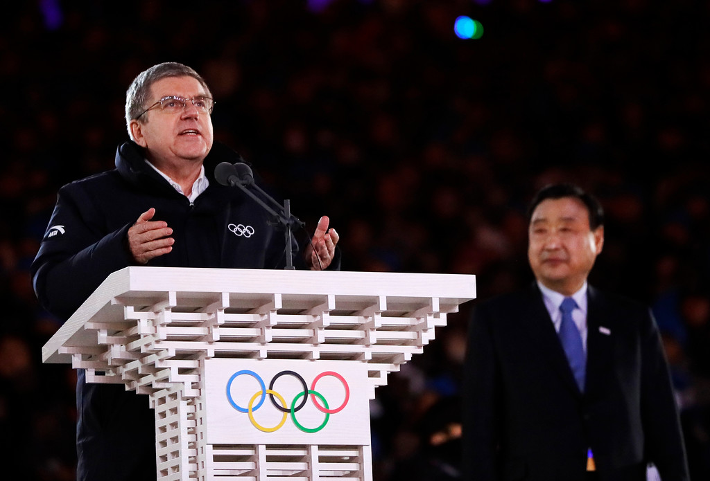 . Thomas Bach, president of the International Olympic Committee speaks during the closing ceremony of the 2018 Winter Olympics in Pyeongchang, South Korea, Sunday, Feb. 25, 2018. (AP Photo/Natacha Pisarenko)