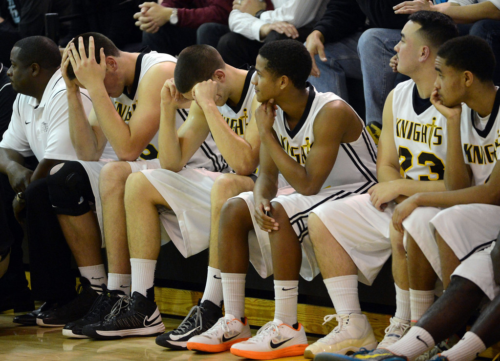 . Bishop Montgomery\'s bench show the difficulty of the last few seconds in the game against La Verne Lutheran in a CIF SS Division IV-AA semifinal game in Torrance Friday night. Lutheran stunned Bishop Montgomery 63-59, ending their unbeaten season. 20130222 Photo by Steve McCrank / Staff Photographer