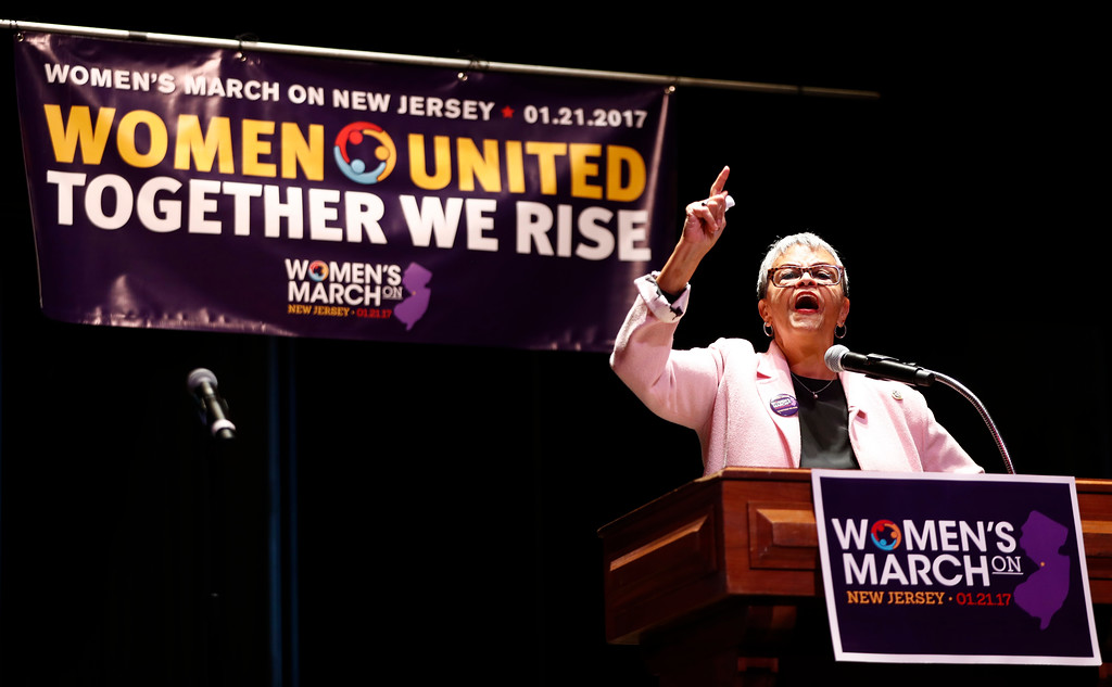 . U.S. Rep. Bonnie Watson Coleman, D-NJ, delivers remarks during a rally in support of the national Women\'s March on Washington during a gathering at Patriots Theater at the War Memorial, Saturday, Jan. 21, 2017, in Trenton, N.J. The march was held in in conjunction with with similar events taking place around the nation following the inauguration of President Donald Trump. (AP Photo/Julio Cortez)