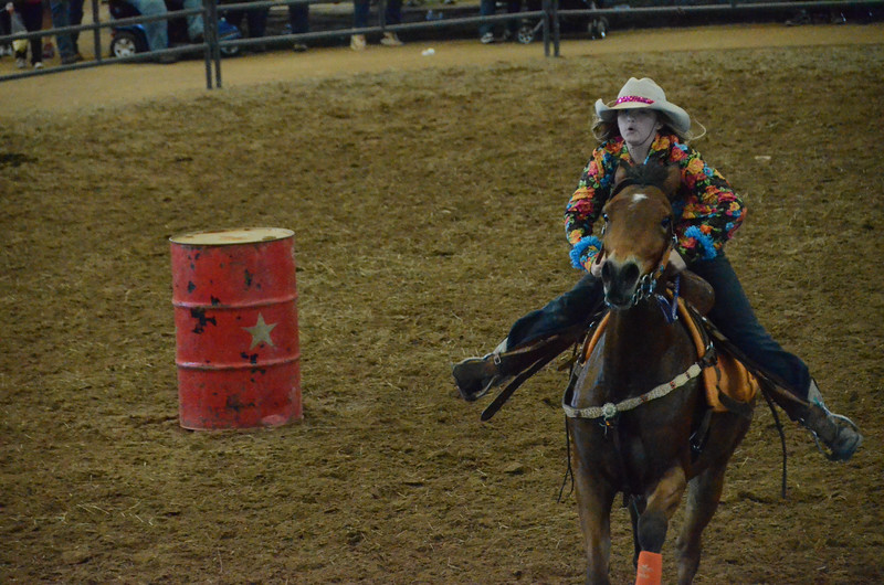 Ladies' turn: barrel racing!