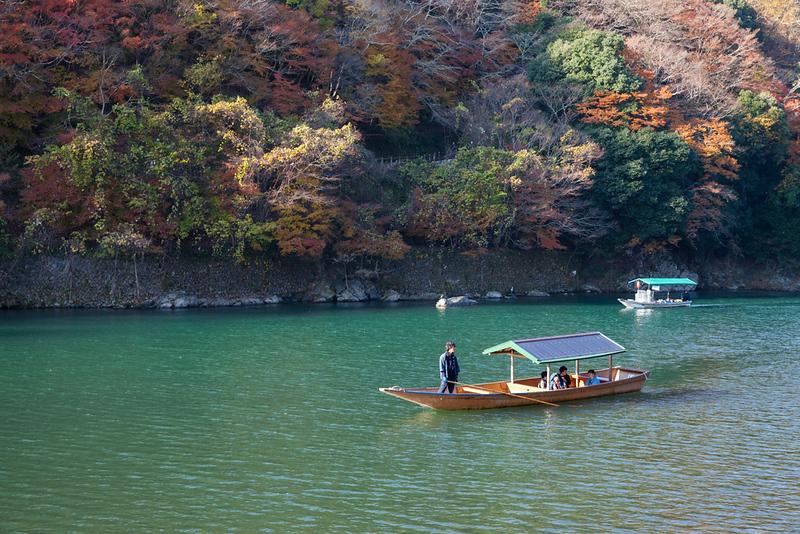 Along Hozu-gawa river to Arashiyama mountain area. Editorial credit: bankerwin / Shutterstock.com