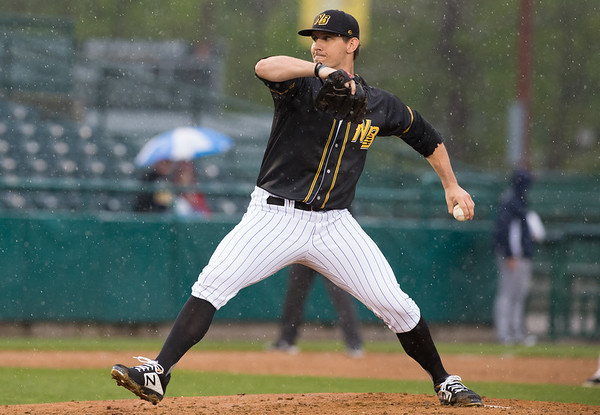 The New Britain Bees home opener vs the Somerset Patriots on Friday night at New Britain Stadium. Starting pitcher Christian Friedrich (23). Wesley Bunnell | Staff