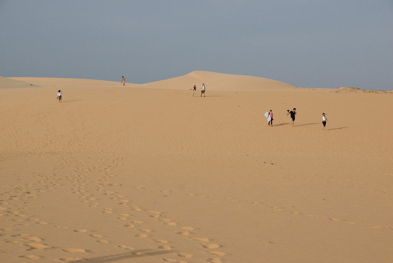 Wide shot of the white sand dunes - Mui Ne, Vietnam