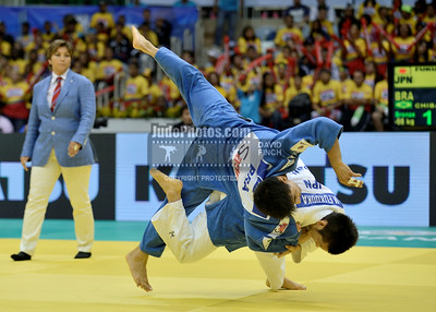 2013 Rio De Janeiro Worlds 130827A1080:  Masaaki Fukuoka of Japan (white) throws Charles Chibana of Brazil for ippon to win the u66kgs bronz....