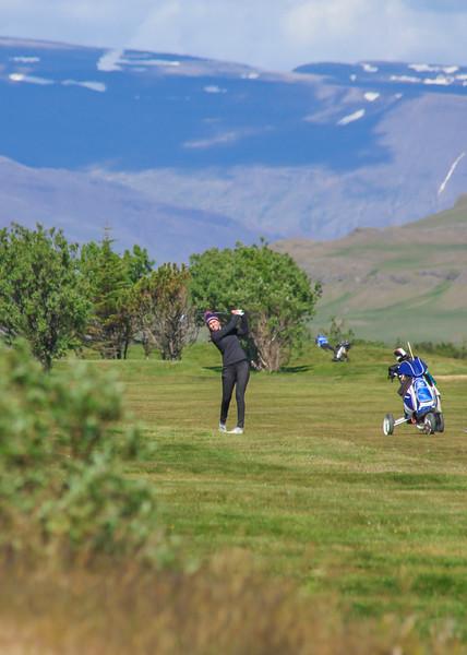 Anna Sólveig Snorradóttir, GK, á 9. braut á Garðavelli.  Mynd/seth@golf.is