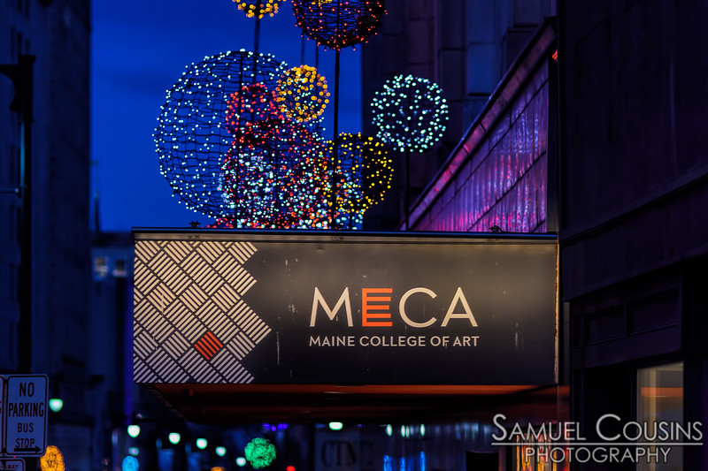 Lights over the MECA sign.