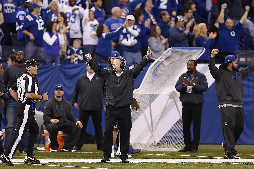 Description of . Head coach Chuck Pagano of the Indianapolis Colts celebrates after a 101-yard kickoff return for touchdown by Deji Karim against the Houston Texans during the game at Lucas Oil Stadium on December 30, 2012 in Indianapolis, Indiana. The Colts defeated the Texans 28-16. (Photo by Joe Robbins/Getty Images)
