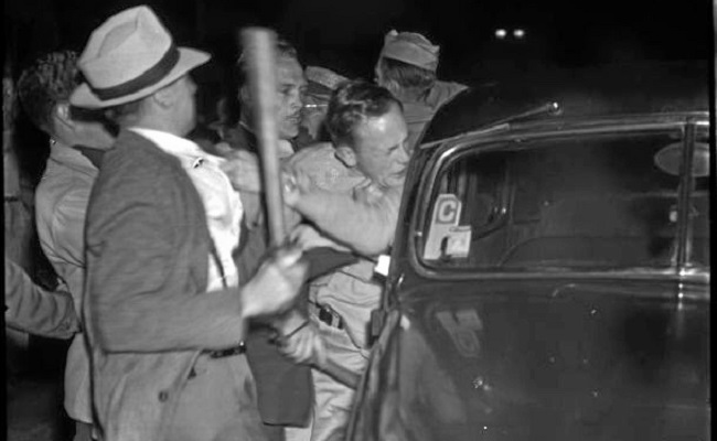 . Violence erupts during the Zoot Suit Riots in Los Angeles. (Special Collections, UCLA Library)