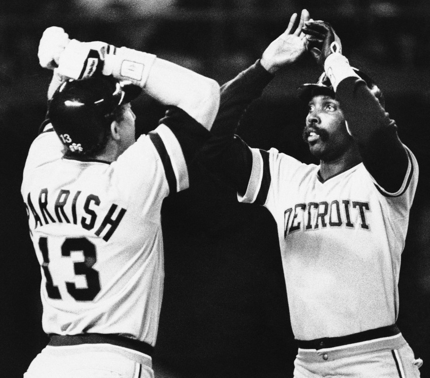 . Detroit Tigers catcher Lance Parrish congratulates pitcher Jack Morris (right) after he went the distance in the Tigers 3-2 victory over the San Diego Padres in the opening game of the World Series, Tuesday, Oct. 9, 1984 in San Diego. (AP Photo)