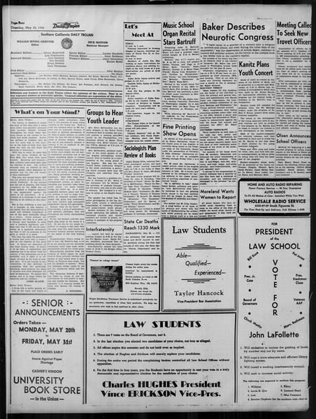 Daily Trojan, Vol. 37, No. 134, May 23, 1946