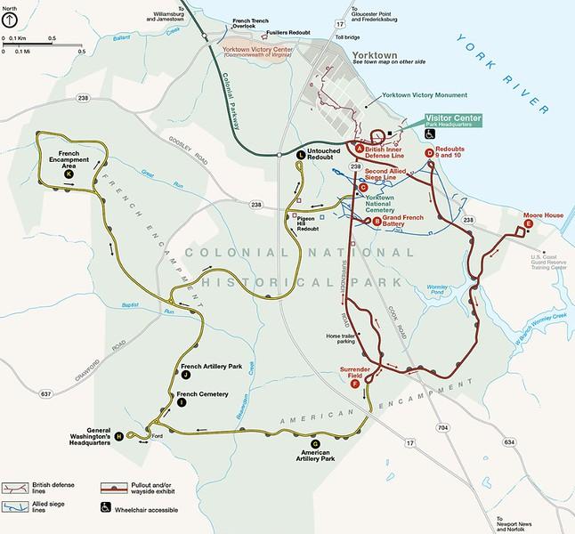 Yorktown Battlefield Tour Map