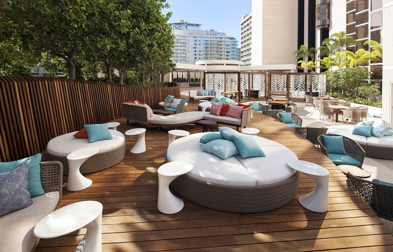 The pool and lounge area were located on the 5th floor