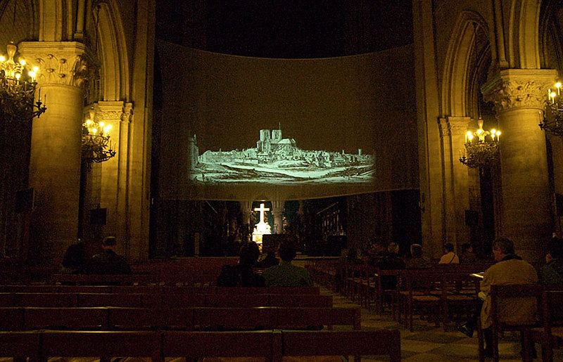 Notre Dame before the showing of a movie about its history.
