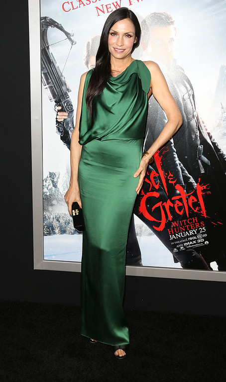 """. Actress Famke Janssen attends the Premiere of Paramount Pictures\' \""""Hansel And Gretel Witch Hunters\"""" at the TCL Chinese Theatre on January 24, 2013 in Hollywood, California.  (Photo by Frederick M. Brown/Getty Images)"""