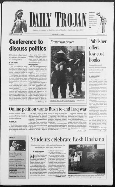 Daily Trojan, Vol. 153, No. 17, September 16, 2004