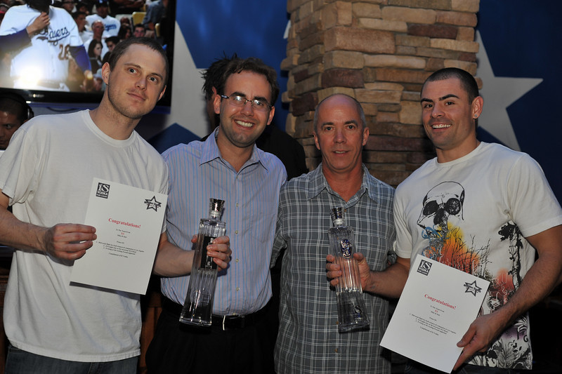 Winners of Guest Casino Bartender Competition 'Who Can Sell the Most ISVodka' at Cadillac Ranch in Las Vegas in Town Square. The Winners are Mike and Sam from XS Nightclub at the Encore Casino and Resort. Mike & Sam have won (along with companions of their choice) flights to Los Angeles with a stay at the famous SLS Hotel complete with an evening at Foxtail Lounge, compliments of ISVodka. Thank you to everyone for bartending at Cadillac Ranch Competition and selling so much ISVodka!