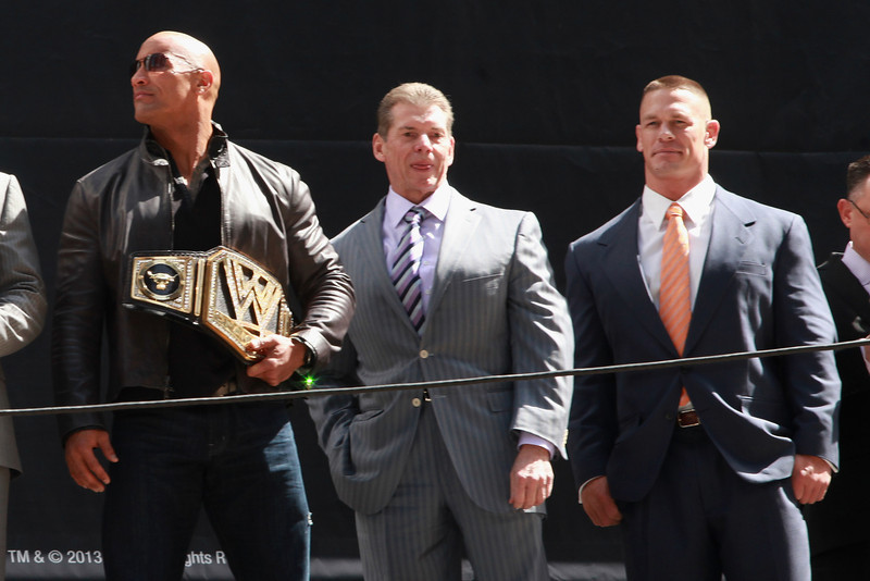 . The Rock, Vince McMahon, and John Cena attend the WrestleMania 29 Press Conference at Radio City Music Hall on April 4, 2013 in New York City.  (Photo by Taylor Hill/Getty Images)