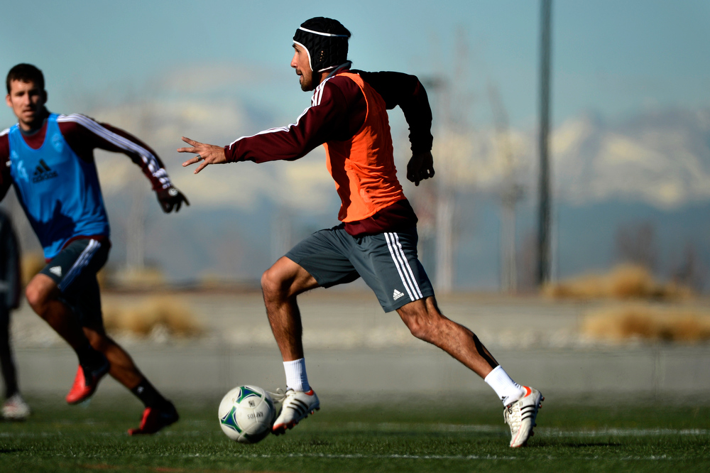 . The Colorado Rapids #25 Pablo Mastroeni during  the first day of preseason camp at Dick\'s Sporting Goods Park in  Commerce City, Colorado January 21, 2013. (Photo By Joe Amon / The Denver Post)