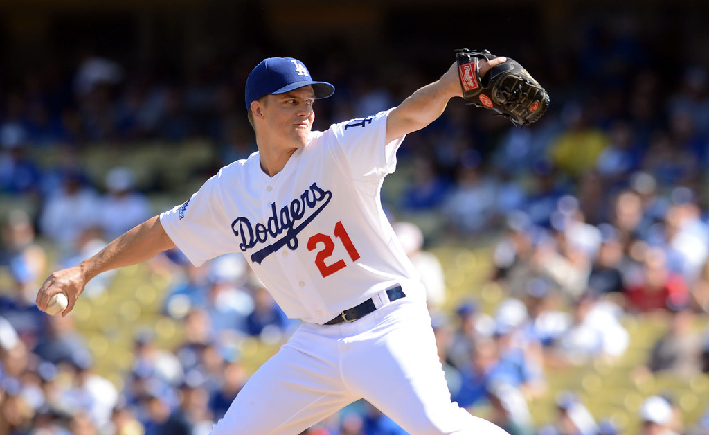 . The Dodgers\' starting pitcher Zack Greinke delivers a pitch against the Cardinals in the 1st inning of game 5 of the NLCS at Dodger Stadium Wednesday, October 16, 2013.(David Crane/Los Angeles Daily News)