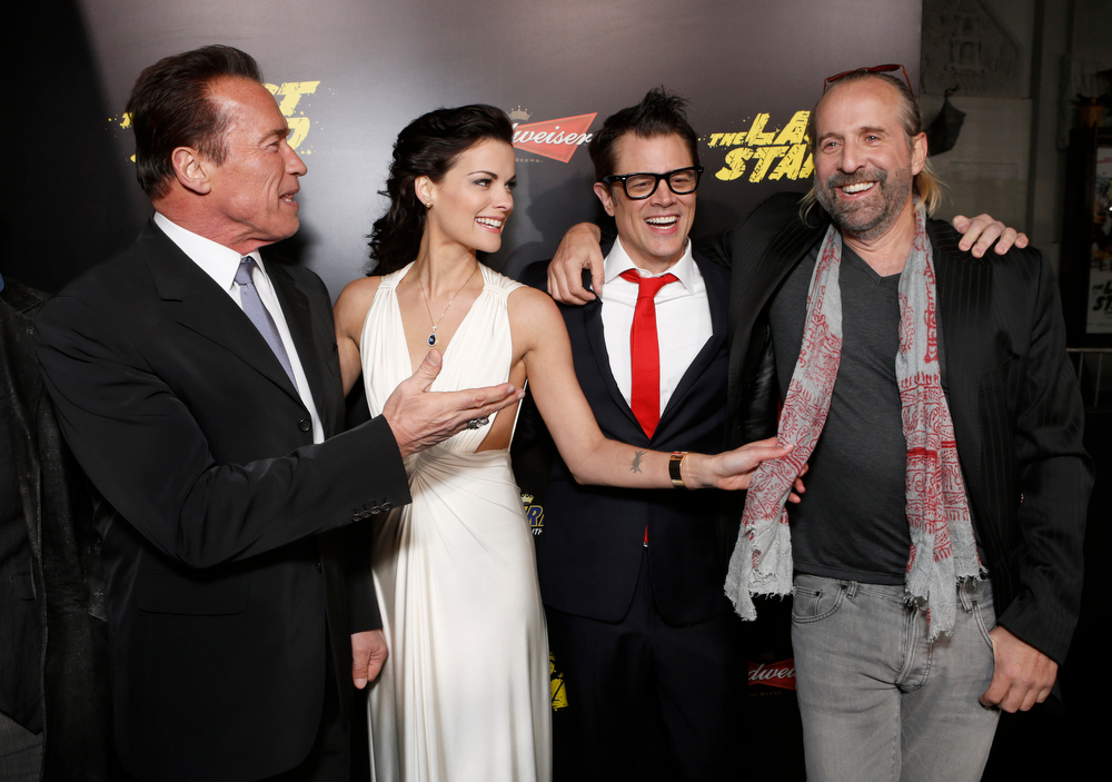 Description of . Arnold Schwarzenegger, Jaimie Alexander, Johnny Knoxville and Peter Stormare attend the LA premiere of