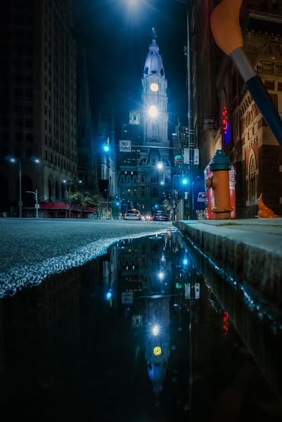 philly night - city hall puddle reflection(p).jpg