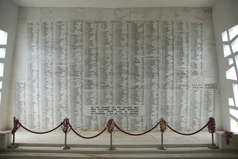 USS Arizona Wall of Honor in Pearl Harbor, Hawaii