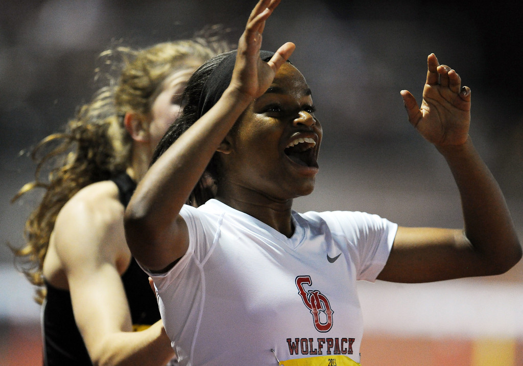 . Great Oak\'s Jade Miller reacts after winning the 300 meter hurdles invitational during the Arcadia Invitational at Arcadia High School on Saturday, April 6, 2013 in Arcadia, Calif.  (Keith Birmingham Pasadena Star-News)