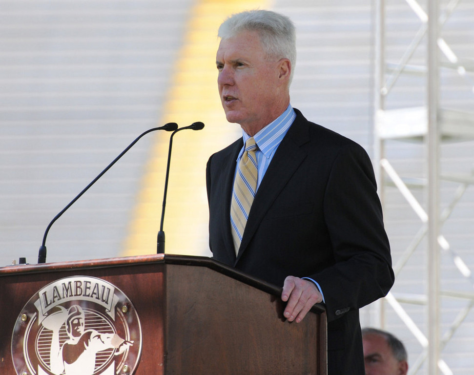 . Packers general manager Ted Thompson speaks during the Packers annual shareholders meeting at Lambeau Field. (AP Photo/The Green Bay Press-Gazette, H. Marc Larson)