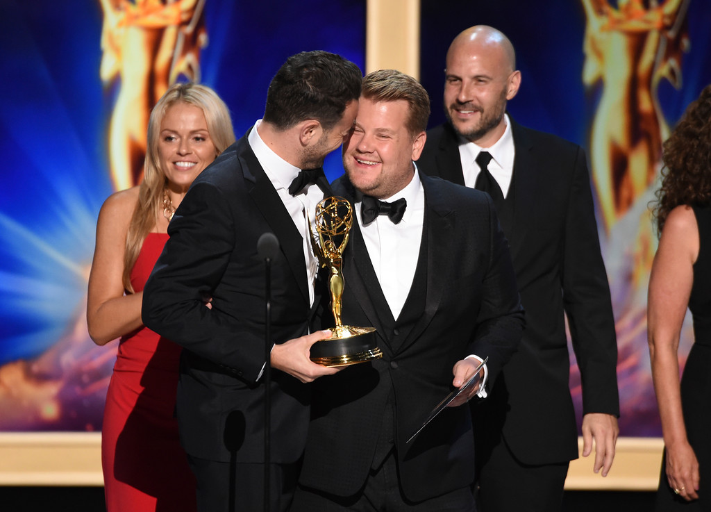 ". Ben Winston left, and James Corden accept the award for outstanding short form variety series for ""Carpool Karaoke: The Series\"" during night two of the Television Academy\'s 2018 Creative Arts Emmy Awards at the Microsoft Theater on Sunday, Sept. 9, 2018, in Los Angeles. (Photo by Phil McCarten/Invision/AP)"
